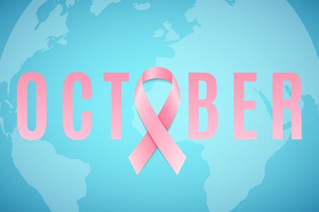 Breast Cancer. Awareness month. Pink ribbon. World map. Banner for your design. Fighting cancer. Vector illustration. EPS 10 Illustration