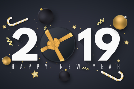 Happy new year 2019. Christmas golden balls. Gift box with tape. Confetti with serpentine. Golden stars and lollipops. Toys on the board. Web banner. Vector illustration. EPS 10