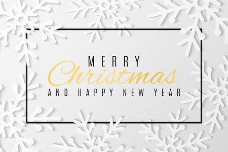 Christmas greeting card. Snowflakes cut out of paper. Happy New Year 2019. Seasonal festive web banner. Text in frame. Vector illustration. EPS 10