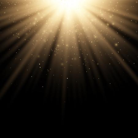 Golden stylish light effect on a black background. Golden rays. Bright explosion. Flying golden magical dust. Sunlight. Christmas light. Vector illustration. EPS 10