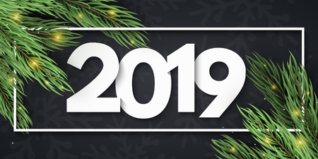 Happy New Year 2019. White paper cut numbers. Christmas tree and abstract golden lights. Festive web banner. Pattern of snowflakes. Vector illustration. Vectores