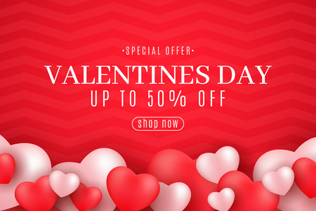 Valentine's Day sale cover. Romantic 3D hearts on a red background. Modern design for your business. Special offer. Abstract pattern. Romantic composition. Vector illustration. EPS 10