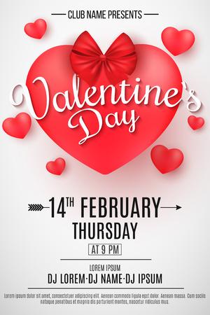 Flyer zum Valentinstag. 3D-Herz mit Schleife auf hellem Hintergrund. Romantische Komposition. Festliches Web-Poster für Nachtclub. DJ und Clubname. Tanzen die ganze Nacht. Vektor-Illustration. EPS 10
