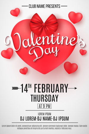 Valentine's Day party flyer. 3D heart with bow on a light background. Romantic composition. Festive web poster for night club. DJ and club name. Dancing all night. Vector illustration. EPS 10