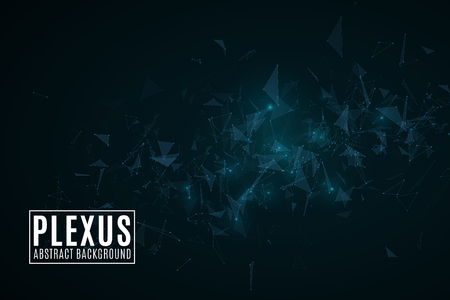 Plexus abstract background. Modern futuristic geometric design. Flying triangles in the dark. Glowing lights. Connected triangles. Science cover. Vector illustration. EPS 10