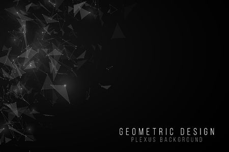 Geometric abstract background. Modern futuristic geometric design. Flying white triangles in the dark. Glowing lights. Glowing connected triangles. Vector illustration. EPS 10 Vectores