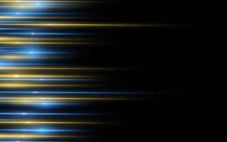 Light effect. Abstract background of yellow blue laser beams of light on black background. Chaotic glowing neon lines. Side view. Vector illustration. EPS 10