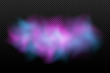 Nuvola colorata realistica su uno sfondo trasparente. Nebbia astratta viola blu. Effetto elegante. Holi. Festa indiana dei colori. Illustrazione vettoriale. EPS 10