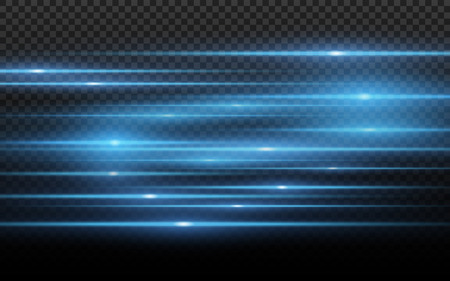 Stylish blue light effect. Abstract laser beams of light. Chaotic neon rays of light for your project. Isolated on transparent dark background. Vector illustration. EPS 10  イラスト・ベクター素材