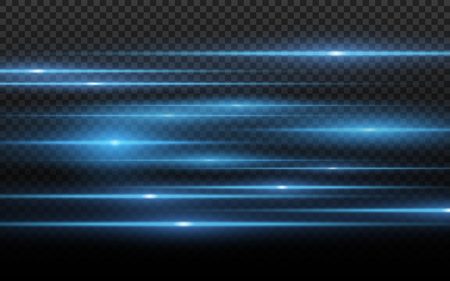 Blue light effect. Abstract laser beams of light. Chaotic neon rays of light for your project. Isolated on transparent dark background. Vector illustration. EPS 10