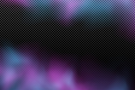 Realistic purple blue cloud on a transparent background. Multicolored abstract fog. Modern stylish smoke effect. Holi. Indian festival of colors. Vector illustration. EPS 10
