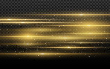 Stylish golden light effect. Abstract laser beams of light. Chaotic neon rays of light. Golden glitters. Isolated on transparent dark background. Vector illustration. EPS 10 Illustration