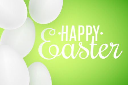 Realistic Easter white 3D eggs on green background. Lettering text. Scattered eggs. Cover for happy easter. Festive web banner. Vector illustration. EPS 10 Stock Vector - 124572058