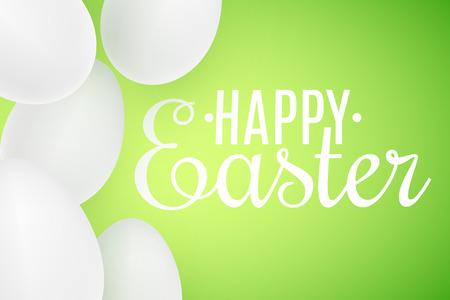 Realistic Easter white 3D eggs on green background. Lettering text. Scattered eggs. Cover for happy easter. Festive web banner. Vector illustration. EPS 10