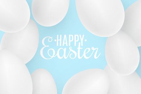 Realistic Easter white 3D eggs on blue background. Lettering text. Scattered eggs. Cover for happy easter. Festive web banner. Vector illustration. EPS 10