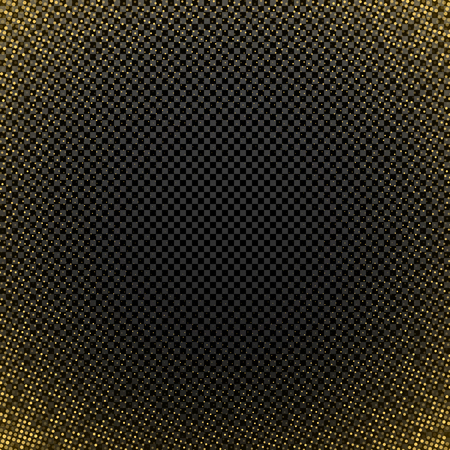 Golden halftone effect isolated on a dark transparent background. Abstract background. Golden glitter. Gold shine particles. Template for greeting card. Vector illustration. EPS 10.