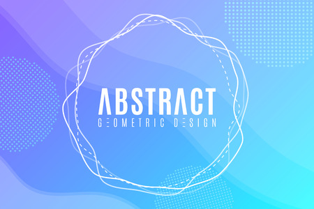 Abstract creative web banner for your design. Modern blue background. Geometric design, Trendy style. Fluid graphic yellow shape. Abstract elements. Vector Illustration. EPS 10.
