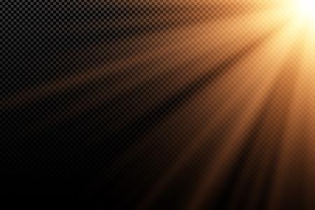 Stylish gold light effect on transparent dark background. Golden rays. Light in the dark. Bright explosion. Sunlight. Abstract light. Vector illustration. EPS 10.