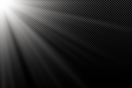 Stylish white light effect on transparent dark background. White rays. Light in the dark. Bright explosion. Abstract light. Vector illustration. EPS 10. Illustration