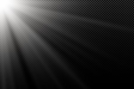 Stylish white light effect on transparent dark background. White rays. Light in the dark. Bright explosion. Abstract light. Vector illustration. EPS 10. Stock Vector - 124158898