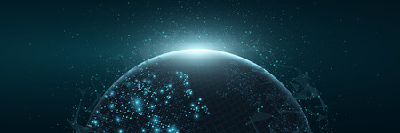 Futuristic Planet Earth. World map of glowing square dots. Modern abstract background. Space composition. Web banner. Global network connection. Vector illustration. EPS 10. Illustration