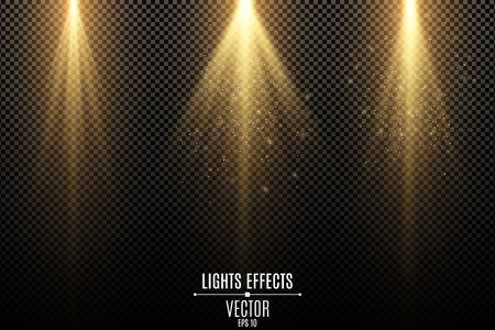 Set of golden lights effects isolated on a dark transparent background. Golden rays with flying magical dust. Lamp beams. Neon glowing. Vector illustration. EPS 10. Illustration