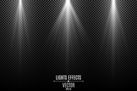 Collection of white lights effects isolated on a dark transparent background. White stylish rays. Lamp beams. Neon glowing. Vector illustration. EPS 10. Illustration
