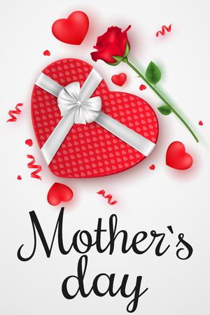 Happy Mothers day flyer. Top view. Romantic composition with gift box of pattern heart and rose flower. Festive web banner. Scattered confetti and hearts. Vector illustration. EPS 10.