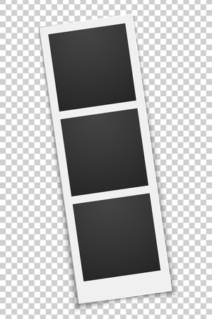 Squared empty photo template isolated on a transparent background. Triple frame. Photo, film card. Row rotated. Vector illustration. EPS 10. 向量圖像