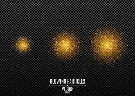 Set of golden glitters isolated on a dark transparent background. Stylish golden sparkle. Magical dust. Shimmering particles. Flying glowing lights. Vector illustration. EPS 10.