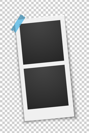 Squared empty photo template glued on a blue sticker isolated on a transparent background. Double frame. Photo, film card. Row rotated. Vector illustration. EPS 10. Illustration
