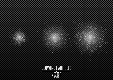 Set of white glitters isolated on a dark transparent background. Stylish sparkle. Spraying dust. Shimmering particles. Flying glowing lights. Vector illustration. EPS 10. Illustration