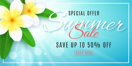 Summer sale banner for web. Plumeria flowers on blue background with shining sun with bokeh lights. Special offer. Realistic tropical flowers. Summer collection. Vector illustration. EPS 10.