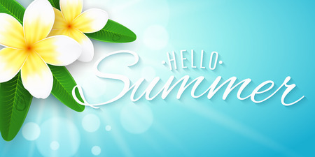 Hello summer inscription. Seasonal banner. Plumeria flowers on blue background with shining sun with bokeh lights. Realistic tropical flowers. Summer collection. Vector illustration. EPS 10. Illustration