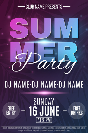 Poster for Summer Party. Abstract glowing neon text banner with flying luminous particles. Dark background with palm trees. Dance night party. The names of the club and DJ. Vector illustration. EPS 10. Illustration