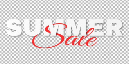 Creative text banner for Summer Sale isolated on transparent background. 3d text. Special offer. Big discounts. Beautiful lettering. Summer collection. Seasonal online shopping. Vector illustration. EPS 10.