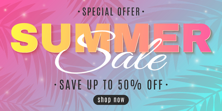 Web banner for Summer Sale on a multicolored background with palm trees. Special offer. Hot deal. Creative lettering. Flying lights. Summer collection. Seasonal shopping. Vector illustration. EPS 10.