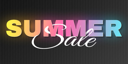 Creative neon text banner for Summer Sale on a black background. Glowing multicolored letters. Special offer. Big discounts. Summer collection. Seasonal shopping. Vector illustration. EPS 10. Illustration