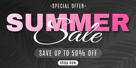 Web banner for Summer Sale on a black background with palm trees. Special offer. Hot deal. Creative lettering. Beauty brochure. Summer collection. Seasonal shopping. Vector illustration. EPS 10. Illustration