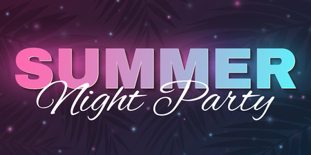 Banner for Summer Party. Abstract glowing neon text banner with flying luminous particles. Dark background with palm trees. Dance night party. Modern design. Vector illustration. EPS 10. Illustration