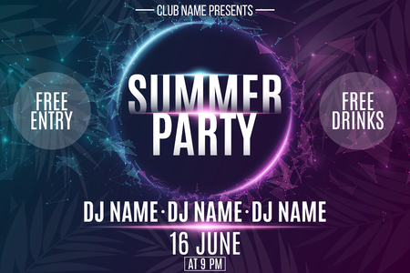 Invitation banner for Summer Party. Abstract neon round banner with flying luminous geometric particles. Palm tree. Dance night party. Plexus style. The names club and DJ. Vector illustration. EPS 10. Illustration