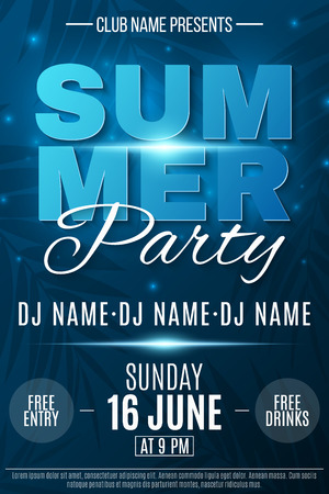 Summer Party poster. Glowing neon text banner with flying luminous lights. Dark blue background with palm trees. Dance night party. The names of the club and DJ. Vector illustration. EPS 10. Illustration
