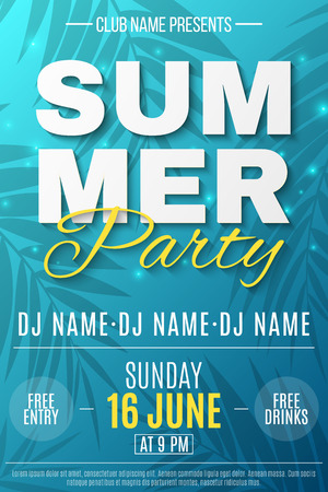 Flyer for Summer Party. Text banner with flying luminous lights. Blue background with pattern of palm trees. Dance night party. The names of the club and DJ. Vector illustration. EPS 10. Illustration