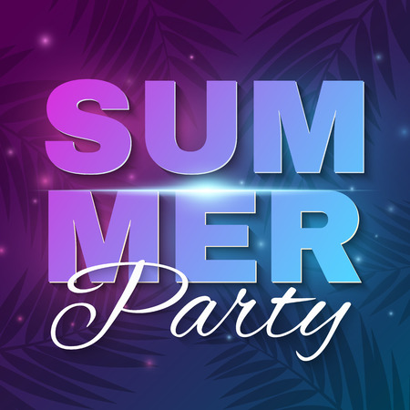 Summer Party banner. Glowing neon text banner with flying luminous lights. Dark blue purple background with palm trees. Dance night party. Flyer for night club. Vector illustration. EPS 10.