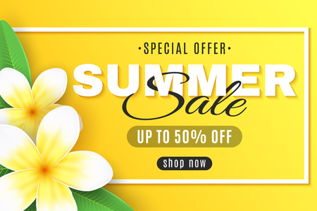 Summer sale web banner. Plumeria flowers on a yellow background in frame. Special offer. Creative decor text. Realistic tropical flowers. Summer collection. Vector illustration. EPS 10. Illustration