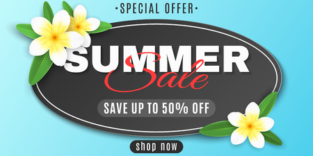 Summer oval label for sale. Special offer. Realistic tropical plumeria flowers. Seasonal web banner for your business. Summer collection. Creative design of the text. Vector illustration. EPS 10.