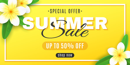 Summer sale. Cover for web. Plumeria flowers on a yellow background in frame. Special offer. Creative decor text. Realistic tropical flowers. Summer collection. Vector illustration. EPS 10.