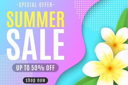 Web banner for the Summer Sale. Liquid style design. Colorful abstract shapes. Realistic tropical flowers plumeria. Special offer. For your business. Vector illustration. EPS 10.