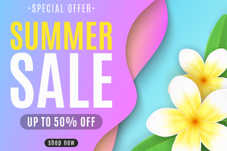 Banner for the Summer Sale. Liquid style design. Colorful abstract shapes. Tropical flowers plumeria. Special offer. For your business. Vector illustration. EPS 10.