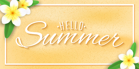 Hello Summer web banner. Tropical plumeria flowers on the beach sand with text. Festive summer cover. For your design. Vector illustration. EPS 10.